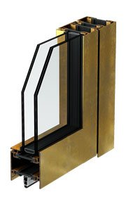 armored windows with bronze profiles